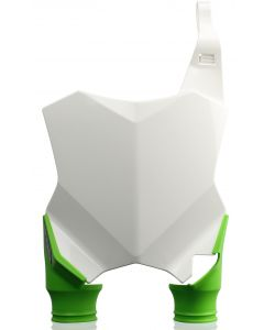 RAPTOR FRONT NUMBER PLATE KAWASAKI WHITE WITH GREEN SOCKS KXF250 17/18 KXF450 16/18