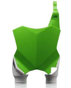 RAPTOR FRONT NUMBER PLATE KAWASAKI GREEN WITH WHITE SOCKS KXF250 17/18 KXF450 16/18